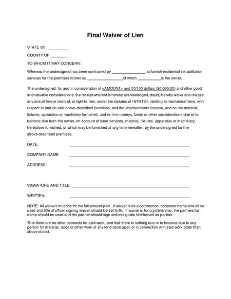 best photos of blank lien release blank lien waiver form
