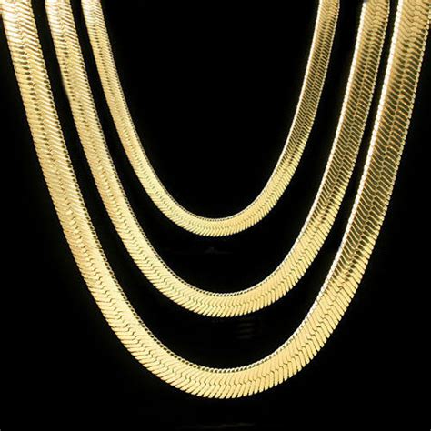 new pattern gold necklace men lady 14k gold plated 4mm 14mm flat 20 quot or 24