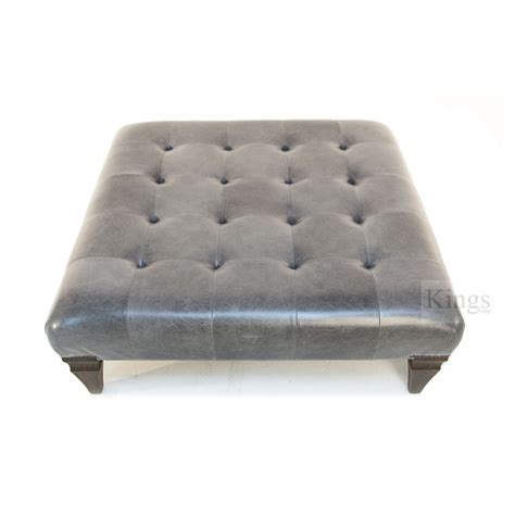 Gray Leather Ottoman Sankey Indented Ottoman In Grey Leather Sold