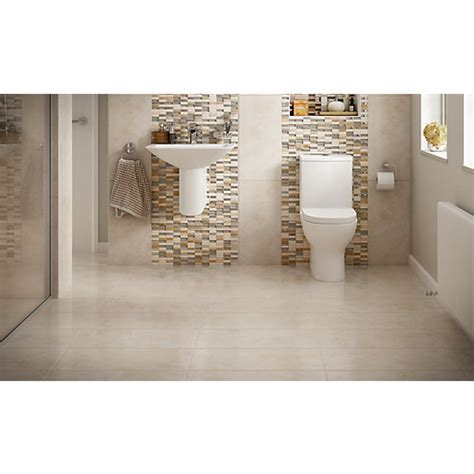 Modern Bathroom Tiles Uk by Wickes Brook Beige Porcelain Tile 600 X 300mm Wickes Co Uk