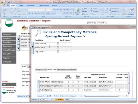 free database templates for access microsoft access employee recruiting template opengate