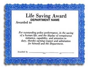 Life Saving Award Certificate Template Life Saving Award Certificate