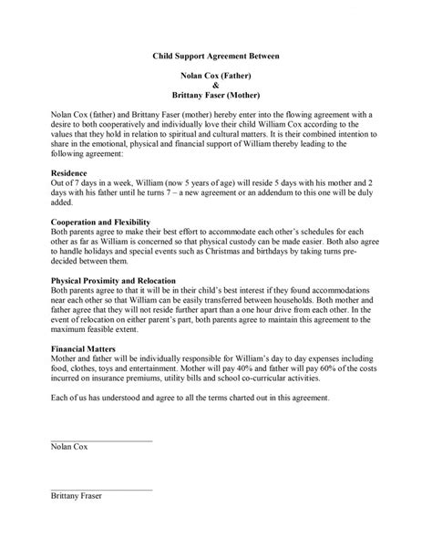 Child Support Agreement Letter Exle Child Support Agreement Template Free Microsoft Word Templates