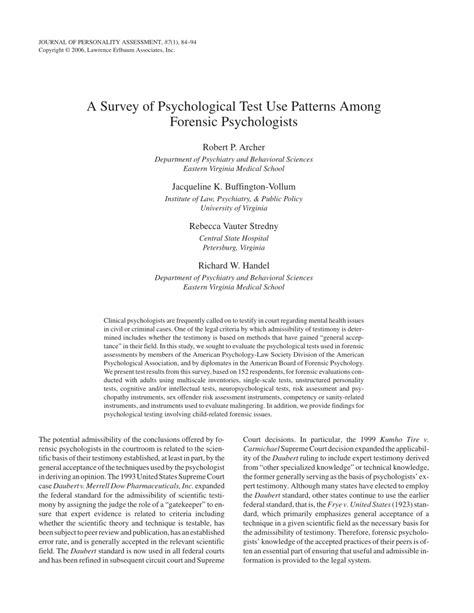 pattern psychology test a survey of psychological test use pdf download available