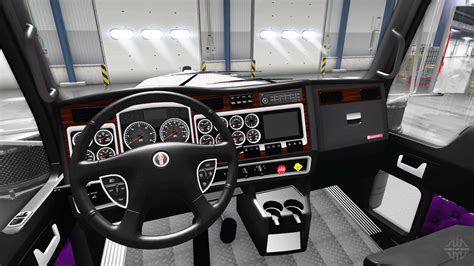 Truck Interior by Purple Interior Kenworth W900 For American Truck Simulator