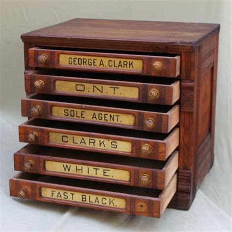 large antique 6 drawer signs clarks oak thread spool