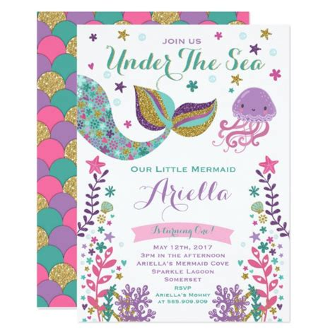 Mermaid Birthday Invitation Under The Sea Party Zazzle Com The Sea Birthday Invitation Template