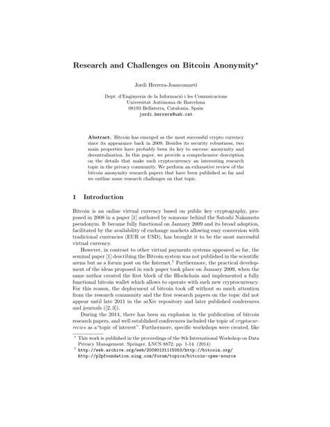 bitcoin research paper research and challenges on bitcoin anonymity pdf