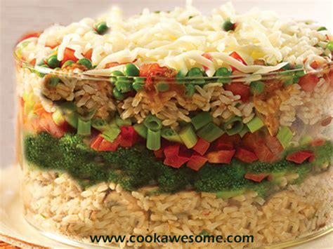 Multi Rice multi layered vegetarian rice recipe cookawesome