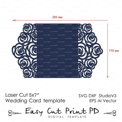template border card cricut roses wedding luxury card template cutting file c113 svg