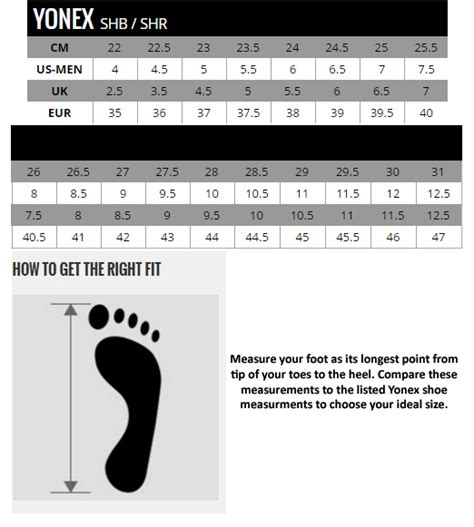 shoe size chart yonex shb65x black red thesportstore pk