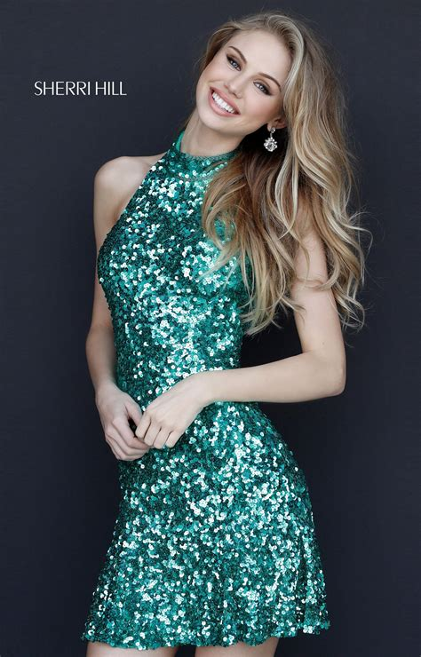 sherri hill  short sequin halter prom dress