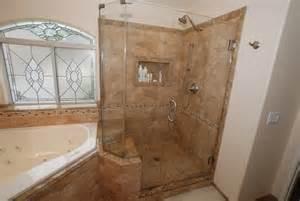 Corner tub amp shower seat master bathroom reconfiguration yorba linda