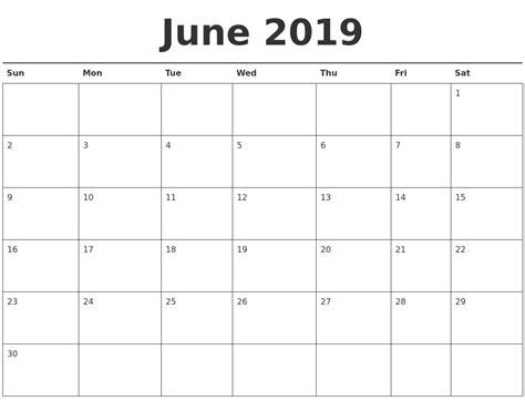 june calendar printable