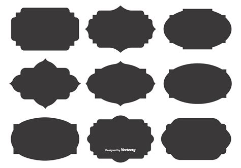 Plaque Cards Vector Template by Blank Vector Label Shapes Free Vector