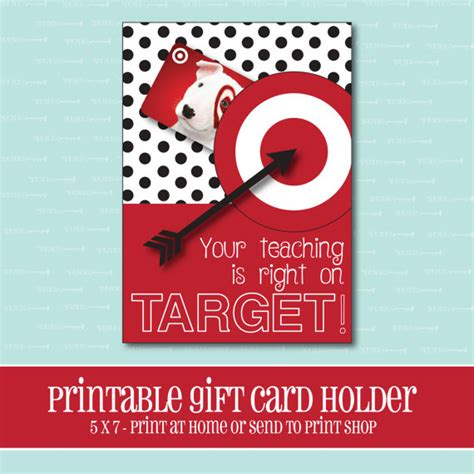 Target Gift Card Printable - instant download target gift card holder amazing teacher