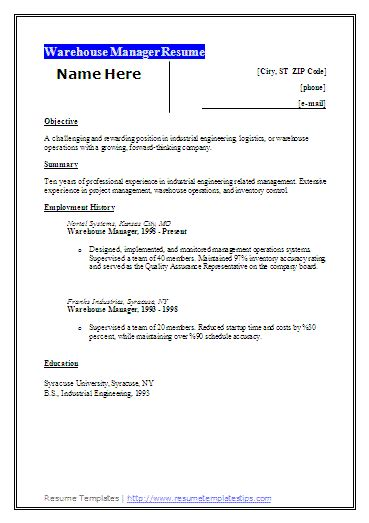 warehouse resume objectives free word s templates