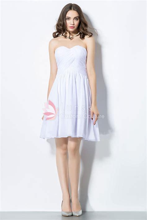 Sage Drapes White Chiffon Strapless Short Simple Cheap Bridesmaid