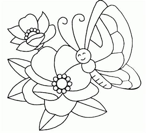 dibujo de mariposa en flores para colorear dibujo de flores y mariposa para colorear y pintar