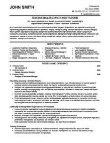 human resources resume template resume sles for experienced hr professionals