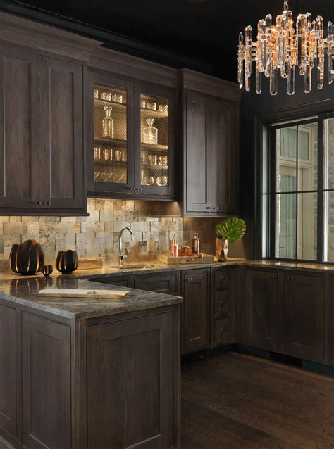 wet bar  warm gold copper  leather accents beck