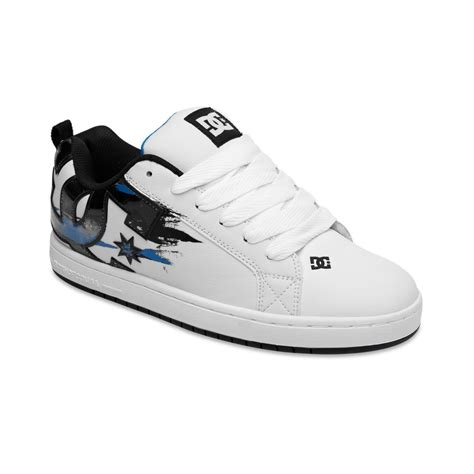 white dc sneakers dc shoes court graffic se sneakers in white for lyst