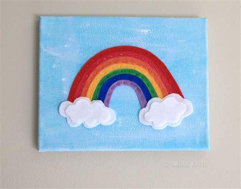 Rainbow Wall Decor by Diy Nursery Wall Felt Rainbow On Canvas Smitha Katti