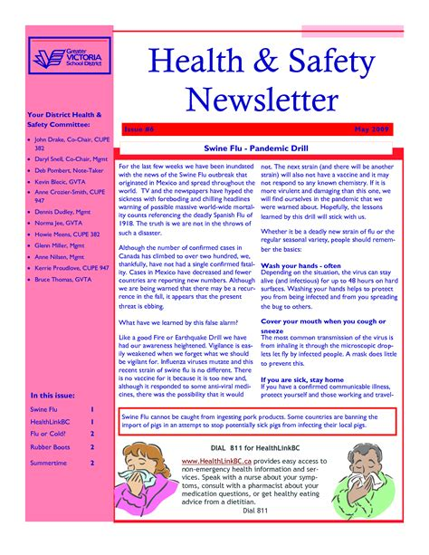 health and wellness newsletter template 5 best images of security newsletter template health and