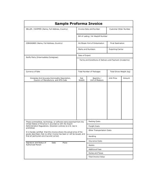 sample of proforma invoice template proforma invoice sample pro