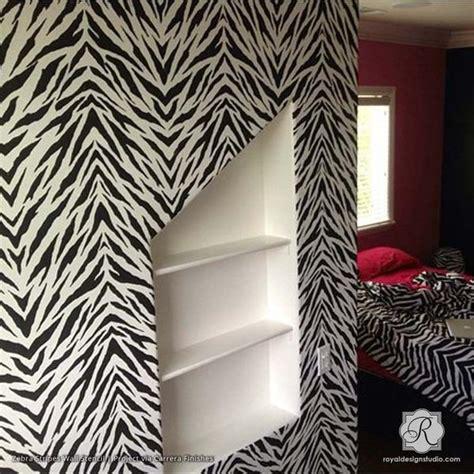 zebra pattern on wall pattern stencils zebra stripes allover stencil royal