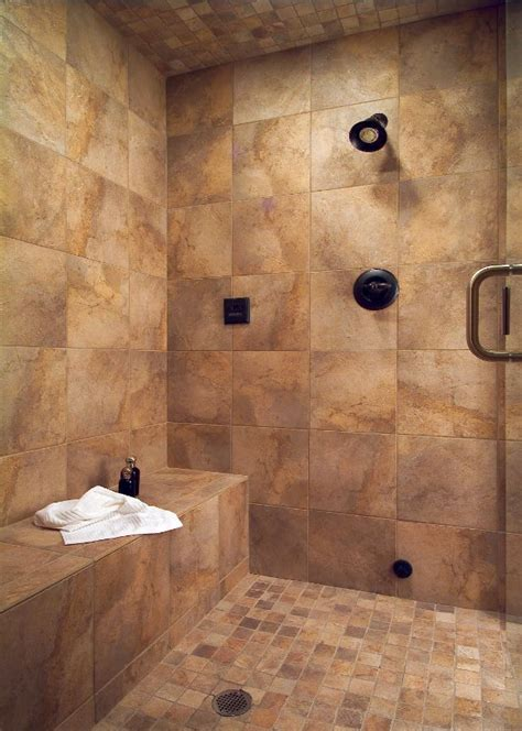 tile showers with bench large tile shower with bench bathroom ideas pinterest