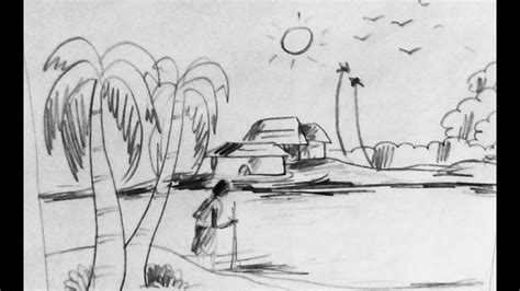 sketchbook how to draw line how to draw scenery of nature scenery with pencil step by