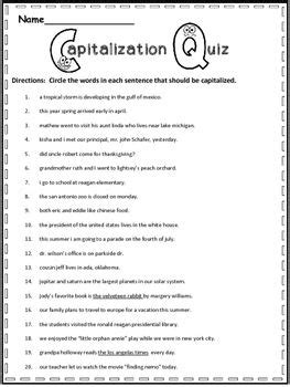 capitalization worksheets 3rd grade 25 best ideas about punctuation activities on