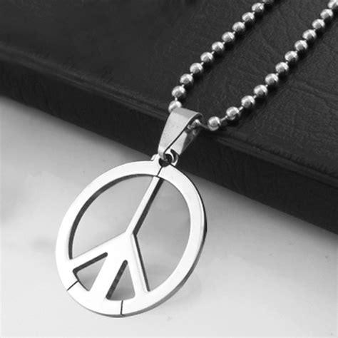 kalung simbol pria menarik stainless steel tanda perdamaian rantai