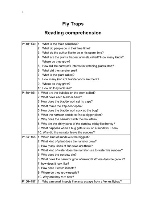 reading comprehension test doc fly traps reading comprehension questions