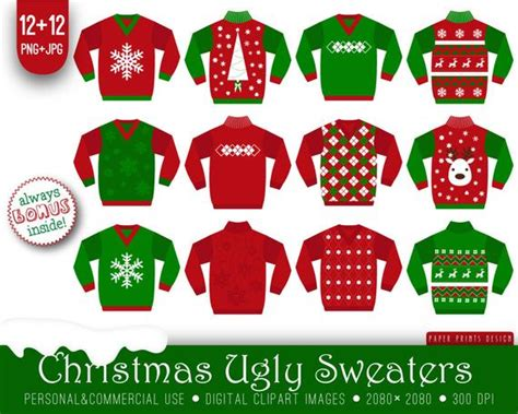 free ugly sweater printables 12 sweaters clipart white green