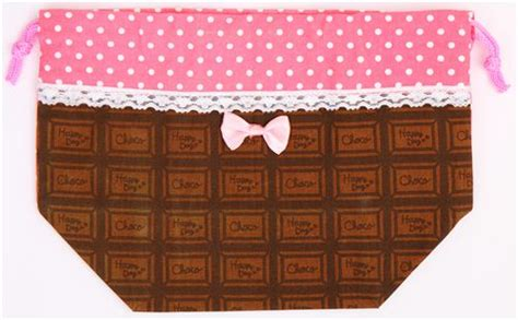 Pouch Bag Set Import Pink 1 polka dot chocolate bento pouch lunch bag japan pink