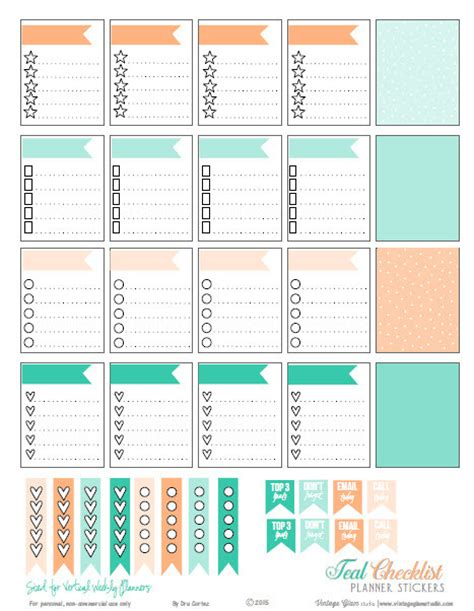 printable planner stickers erin condren teal peach checklist planner stickers free pdf