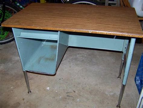 Vintage Metal School Desk by Listed District 45 Vintage Metal School Desk