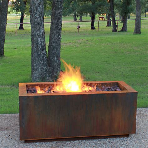 cor ten steel fire pit rectangular with optional lid