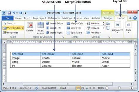 merging cells in word 2010