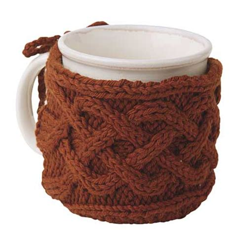 how to knit a mug cosy cabled mug cozy pattern knitting patterns and crochet