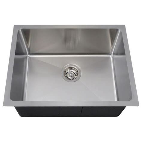 Stainless Steel Undermount Single Bowl Kitchen Sink Mr Direct Undermount Stainless Steel 23 In Single Bowl Kitchen Sink 1823 The Home Depot