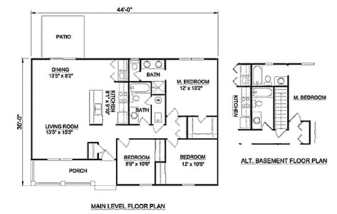 Ranch Style House Plan 3 Beds 2 Baths 1200 Sq Ft Plan 1200 Square Foot House Plans 2 Story