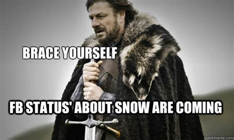 Brace Yourself Meme - brace yourself fb status about snow are coming prepare