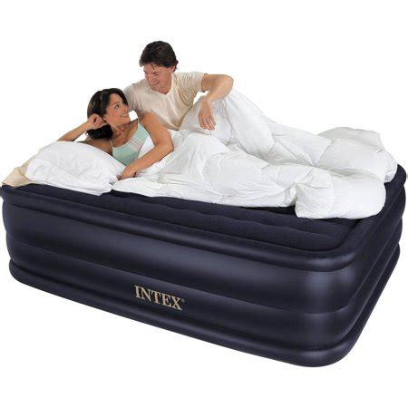 intex queen  rising comfort airbed mattress  built  electric pump walmartcom
