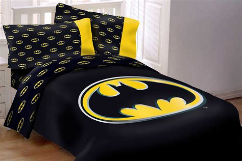 Batman Emblem 4 Piece Reversible Soft Twin Size Comforter Size Batman Bed Set