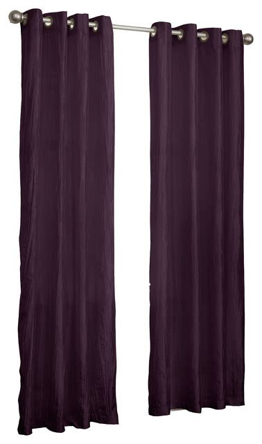 crushed satin curtains sherry crushed satin curtain panel pack of 2 purple