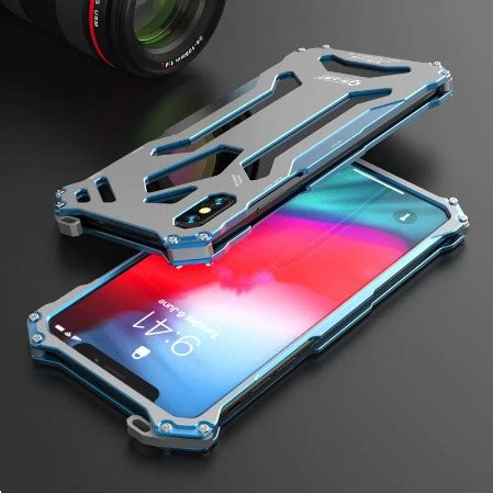 r just gundom luxury iphone xs xs max shockproof aluminum metal back cover rjgdxs 16