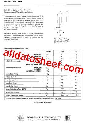 pnp transistor bc557 datasheet bc557 datasheet pdf semtech corporation